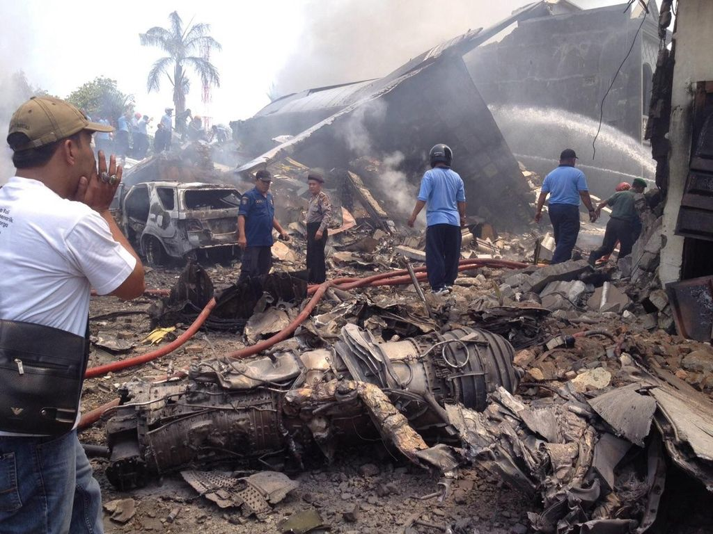 Hercules TNI AU Jatuh di Jl Jamin Ginting Sempat Minta Balik