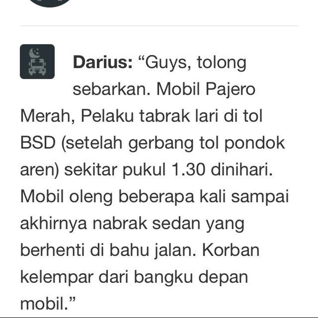 Telusuri Pajero yang Tabrak Lari di Tol BSD, Polisi: Akan Ditindaklanjuti
