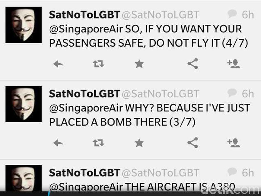 Ilham Ancam Singapore Airlines dengan Bom Lewat Akun Twitter