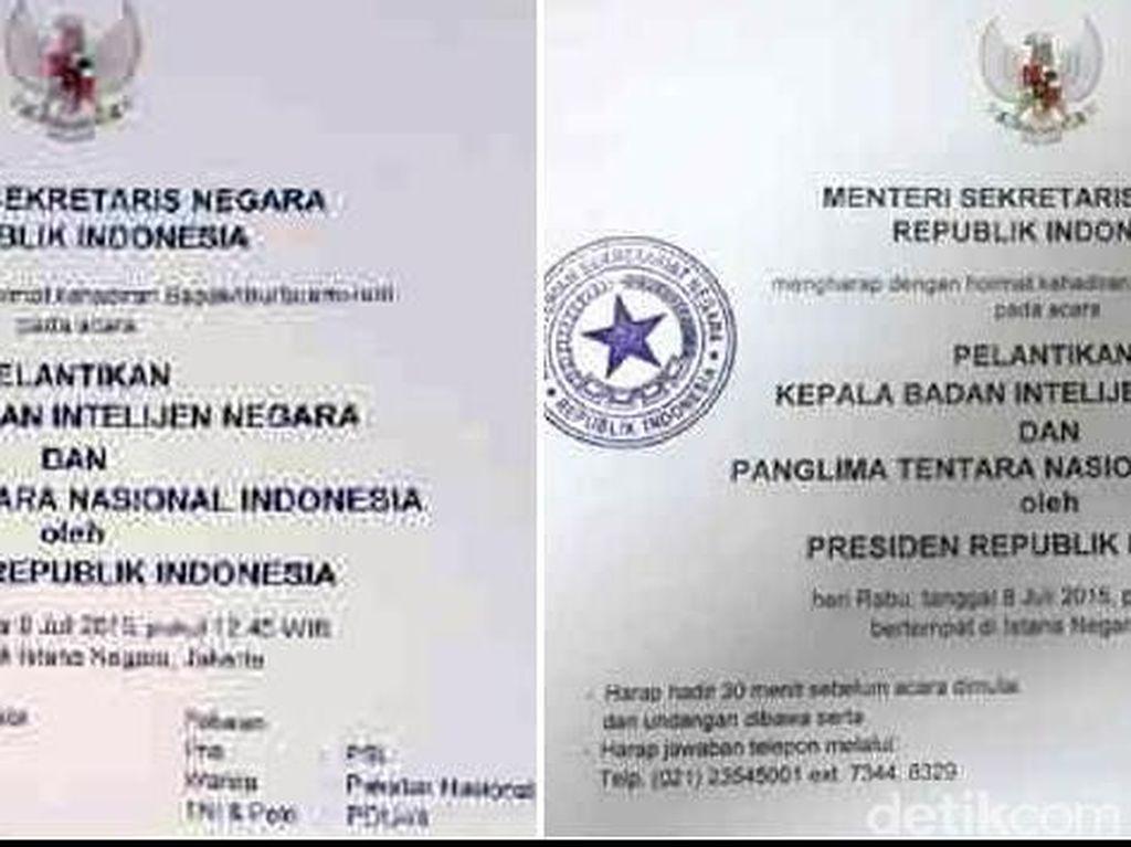 Beredar 2 Versi Undangan Pelantikan Kepala BIN, Sempat Salah Tulis Badan Intelijen Nasional