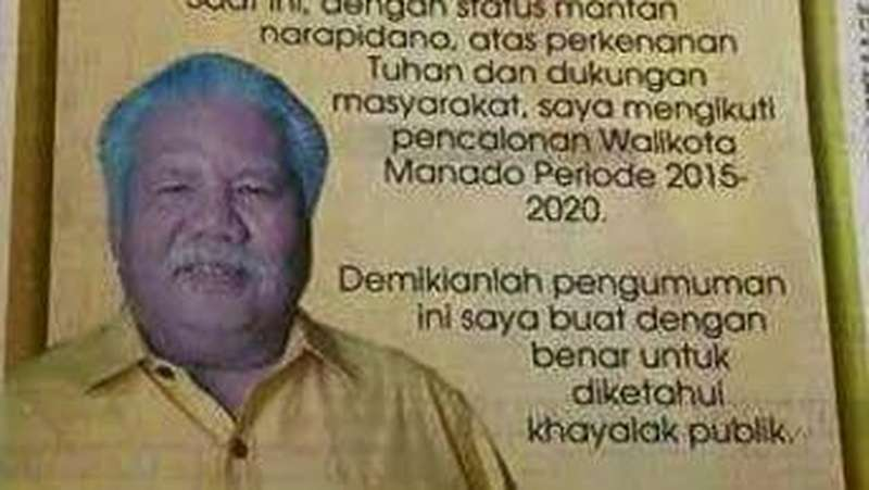 Maju Pilkada Manado, Eks Napi Imba Buat Pengumuman Bebas dari Tahanan