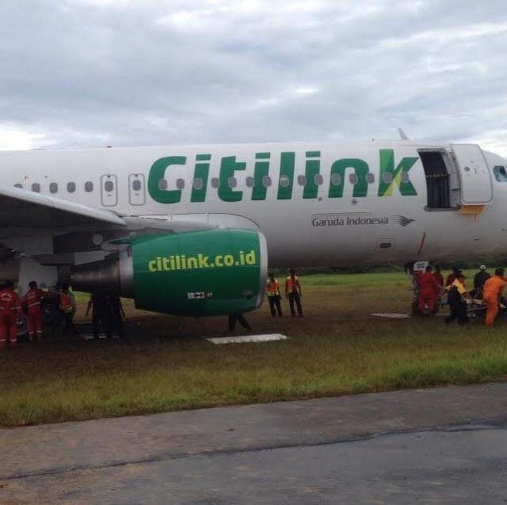 Citilink: Pesawat yang Tergelincir di Minangkabau Tidak Bengkok