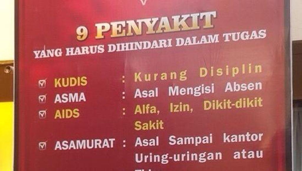 Keren! Polresta Denpasar Pajang 9 Nama Penyakit untuk Disiplinkan Anggota