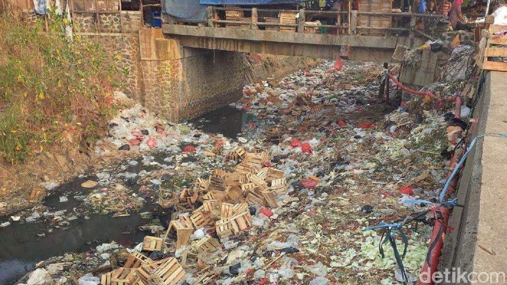 Kondisi Sungai Penuh Sampah di Cibinong yang Perlu Penanganan Serius