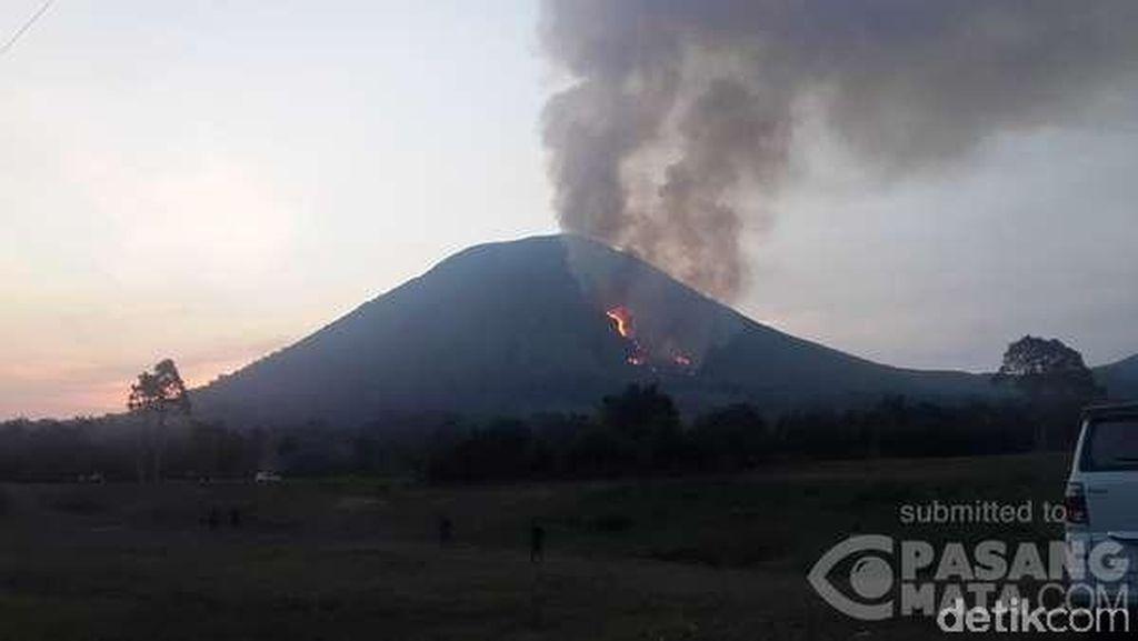 Gunung Lokon Terbakar, Api Menjalar dari Badan Menuju Puncak