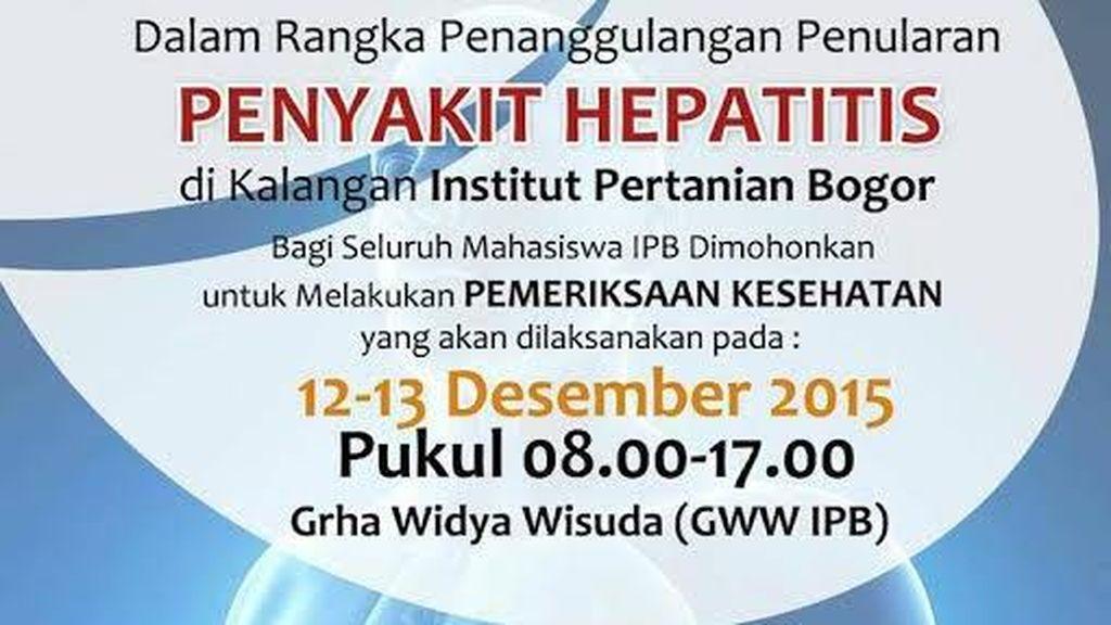 Kejadian Luar Biasa, Hepatitis Menyerang Mahasiswa IPB!