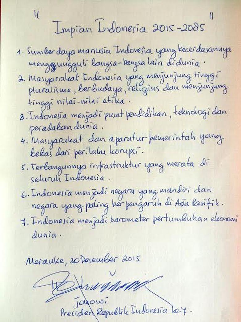 Ini Tulisan Tangan Jokowi yang Ditaruh di Kapsul Waktu: Impian Indonesia 2015-2085