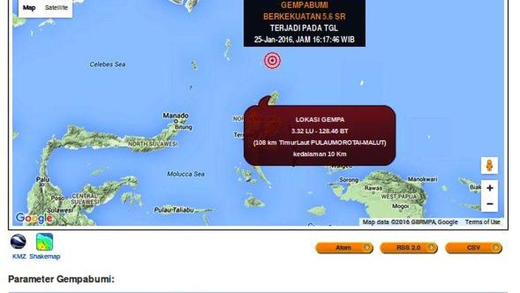 Gempa Berkekuatan 5,6 SR Guncang Timur Laut Morotai