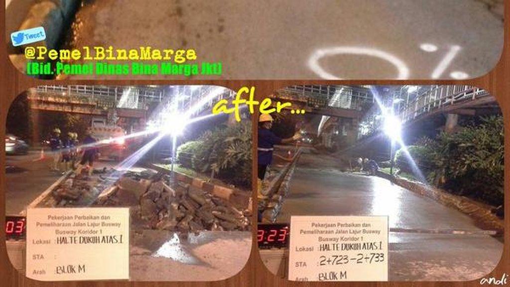 Dinas Bina Marga DKI Sudah Perbaiki Busway Koridor 1