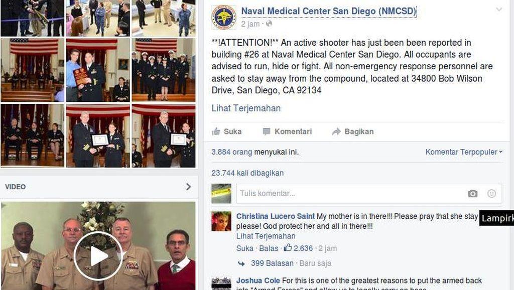 Polisi Tak Temukan Adanya Penembakan di RS Militer San Diego, AS