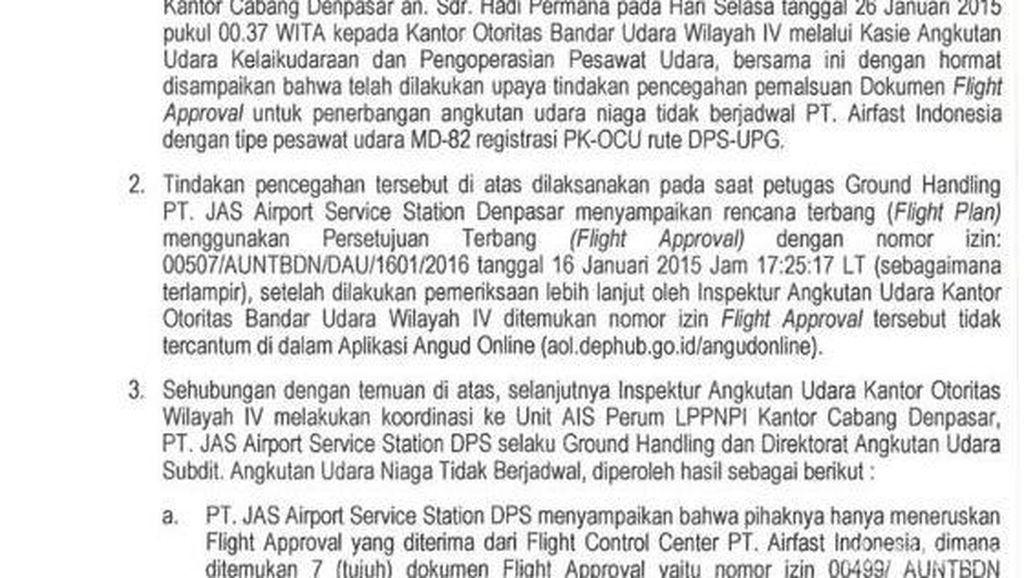 Ini Surat Laporan Penemuan Flight Approval Palsu yang Dilaporkan ke Kemenhub