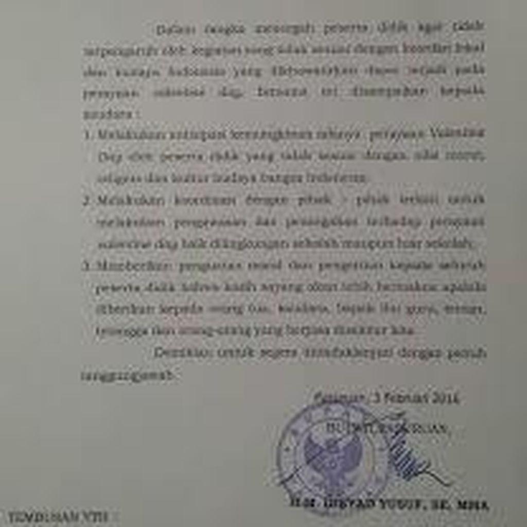 Pemkot Bandung akan Edarkan Surat Larangan Perayaan Valentine Day ke Seluruh Sekolah