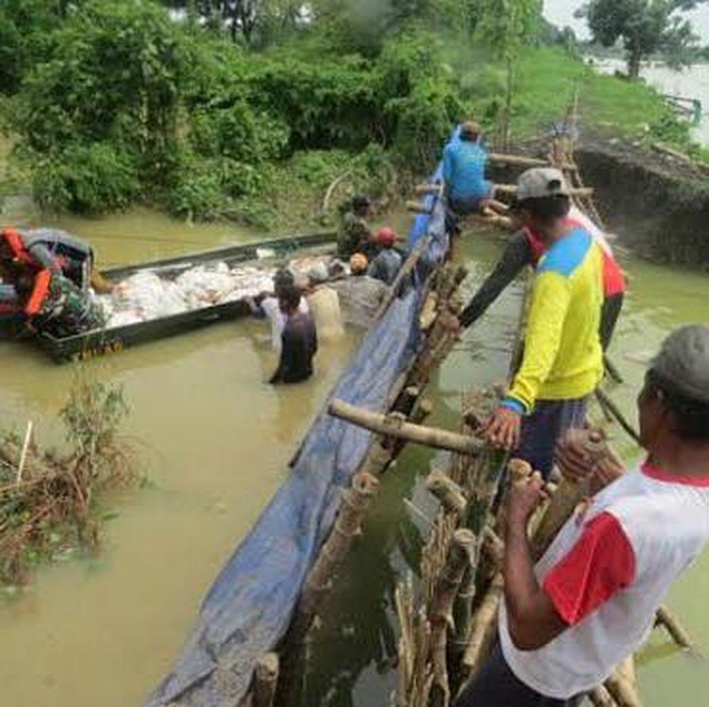 Tanggul Kali Plalangan Jebol Lagi, Banjir di Lamongan Meluas