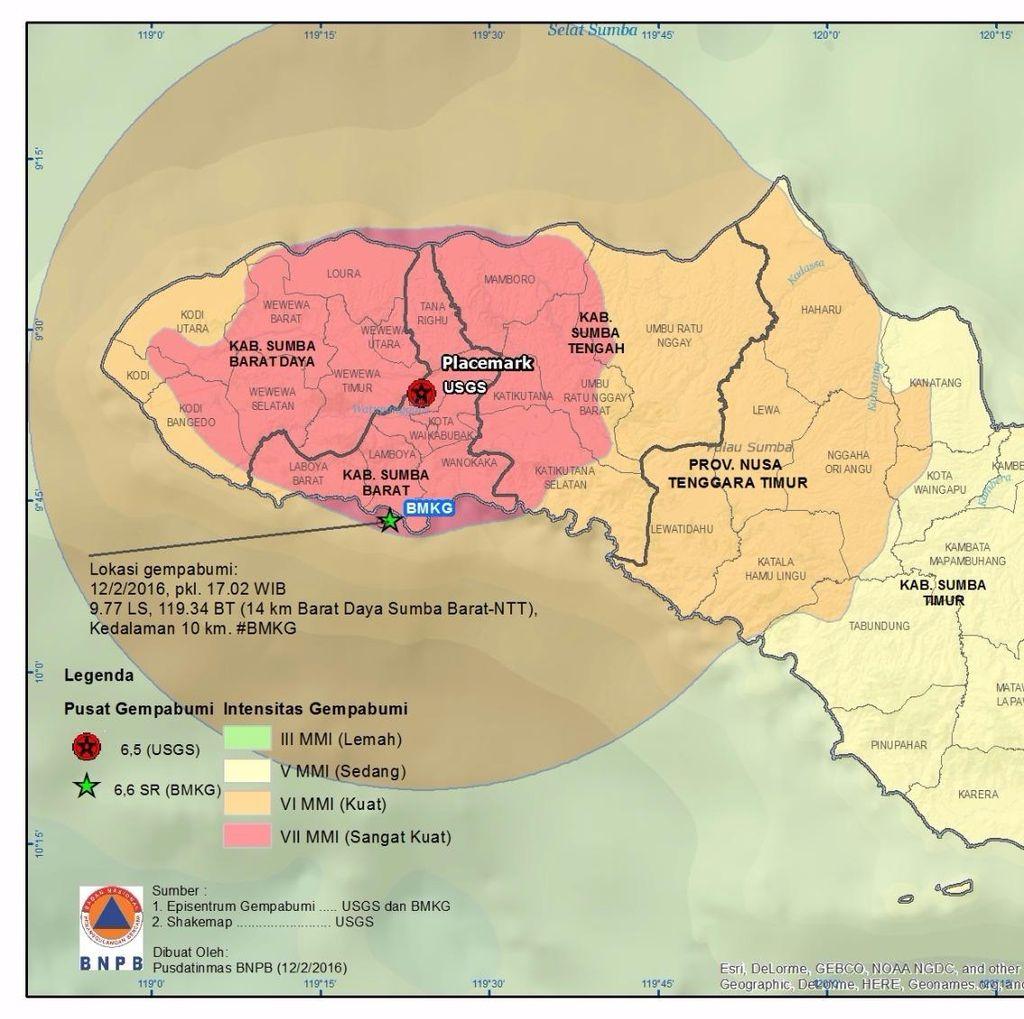 Sumba Barat Diguncang Gempa, BNPB: Info Sementara Waikabubak Aman