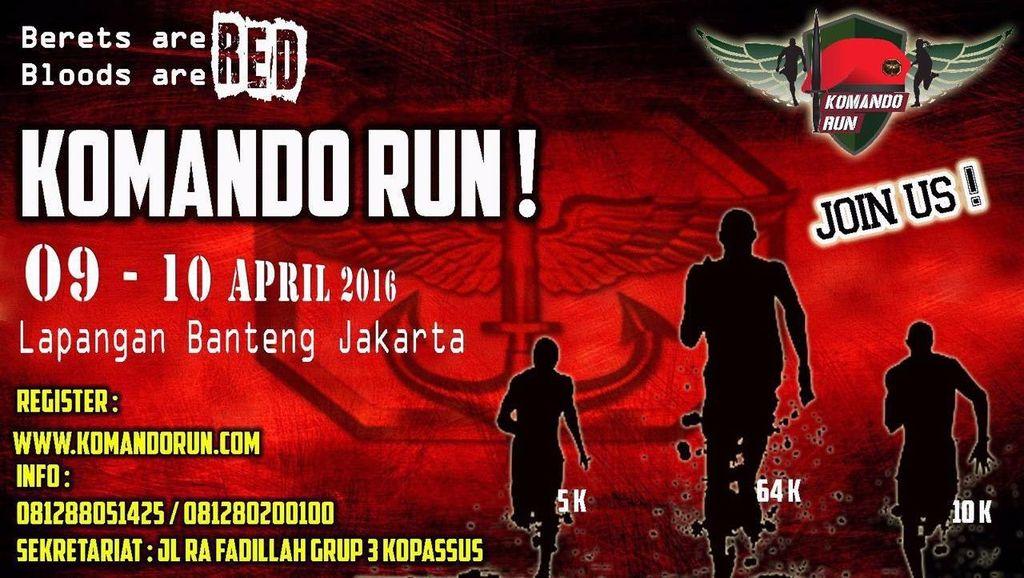 Ayo Ikut Lomba Lari Komando Run untuk Meriahkan HUT ke-64 Kopassus