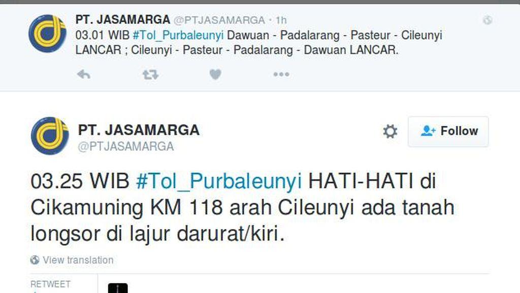Ada Longsor di Tol Purbaleunyi KM 118 Arah ke Bandung