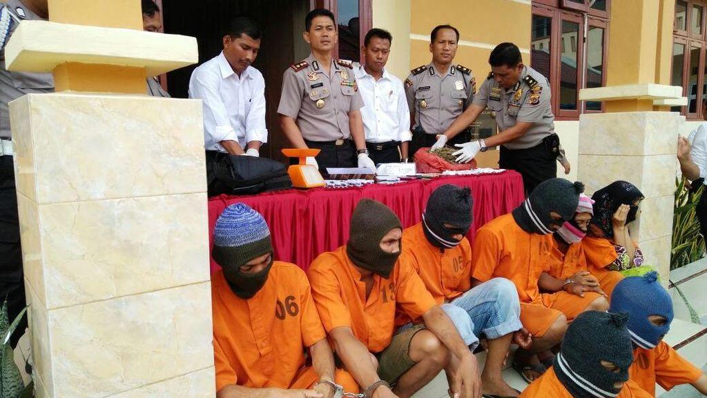 7 Orang Termasuk Wanita dan Polisi Ditangkap di Langsa karena Jadi Kurir Ganja