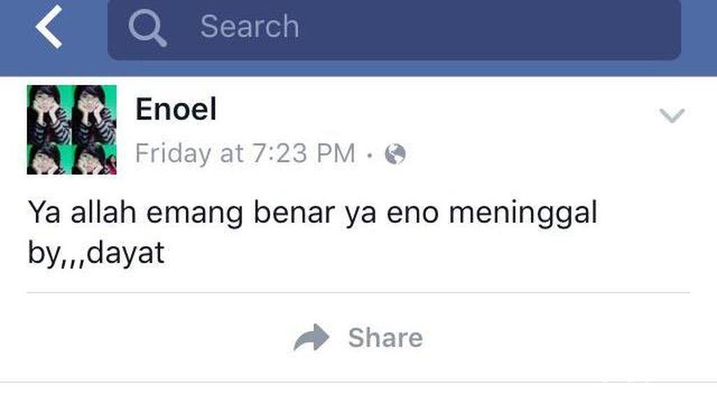 Misteri Status Facebook Eno yang Update Usai Kematiannya