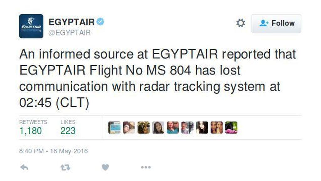 EgyptAir Kerahkan Tim untuk Cari Pesawatnya yang Hilang dari Radar