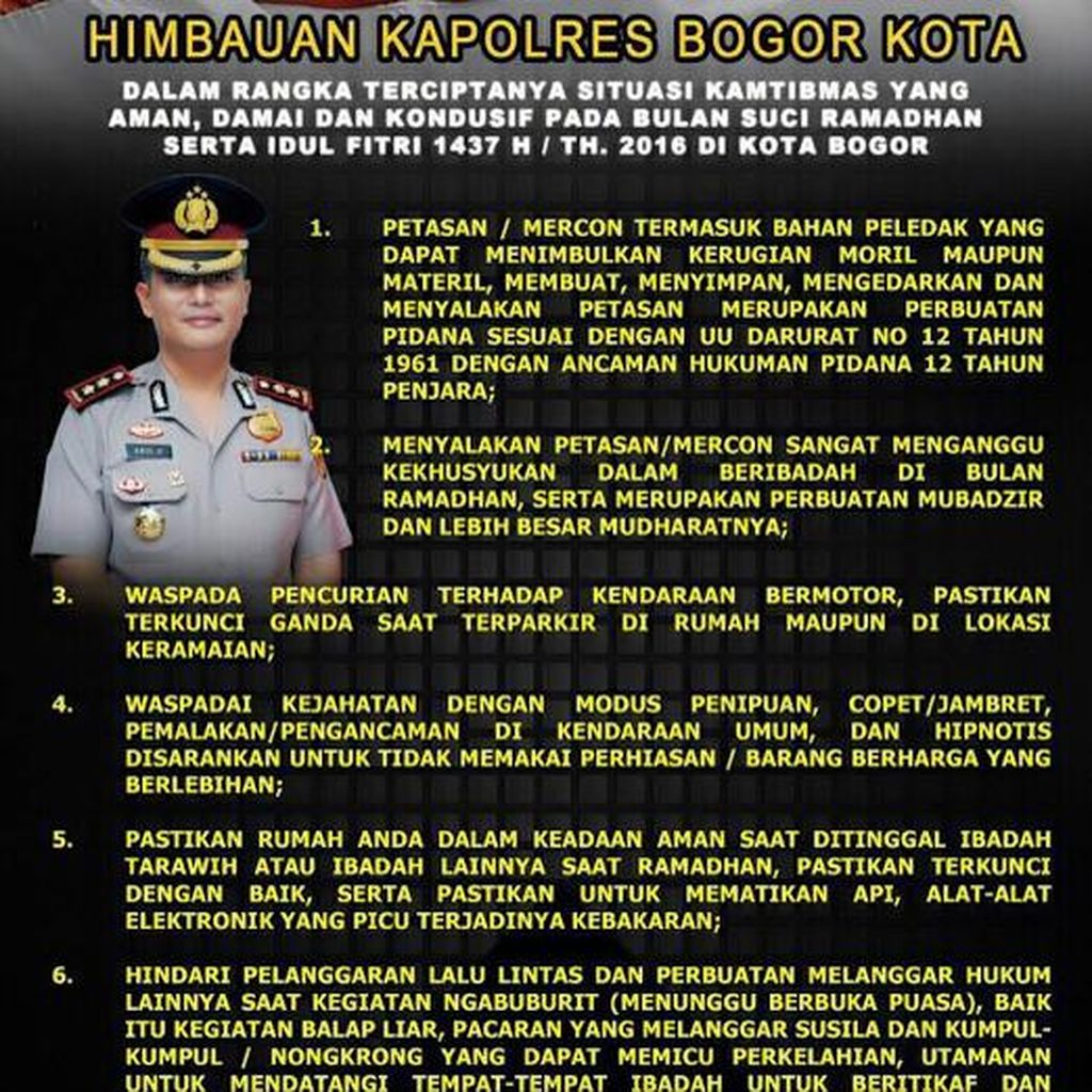 Polisi Imbau Remaja di Bogor Tak Isi Ngabuburit dengan Pacaran dan Balap Liar