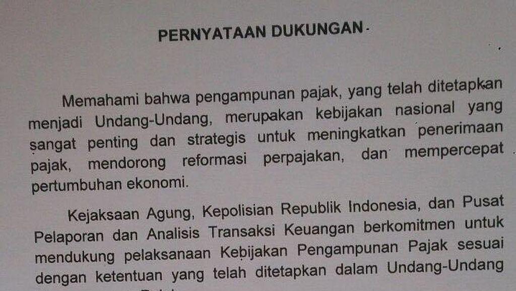 Kapolri, Jaksa Agung dan Kepala PPATK Teken Surat Dukung Tax Amnesty
