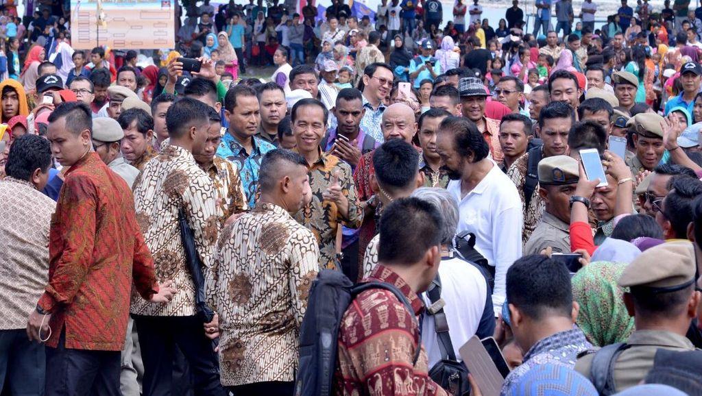 Jokowi, Ahok dan Tito Hadiri Halalbihalal Surya Paloh di Kepulauan Seribu