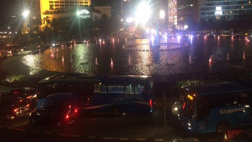 Lalin di Bundaran HI Ramai Lancar, Polisi Tegur Lebih dari 100 Pengendara
