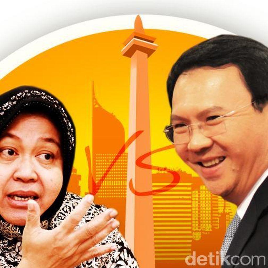 Senyum Megawati di Antara Ahok dan Risma