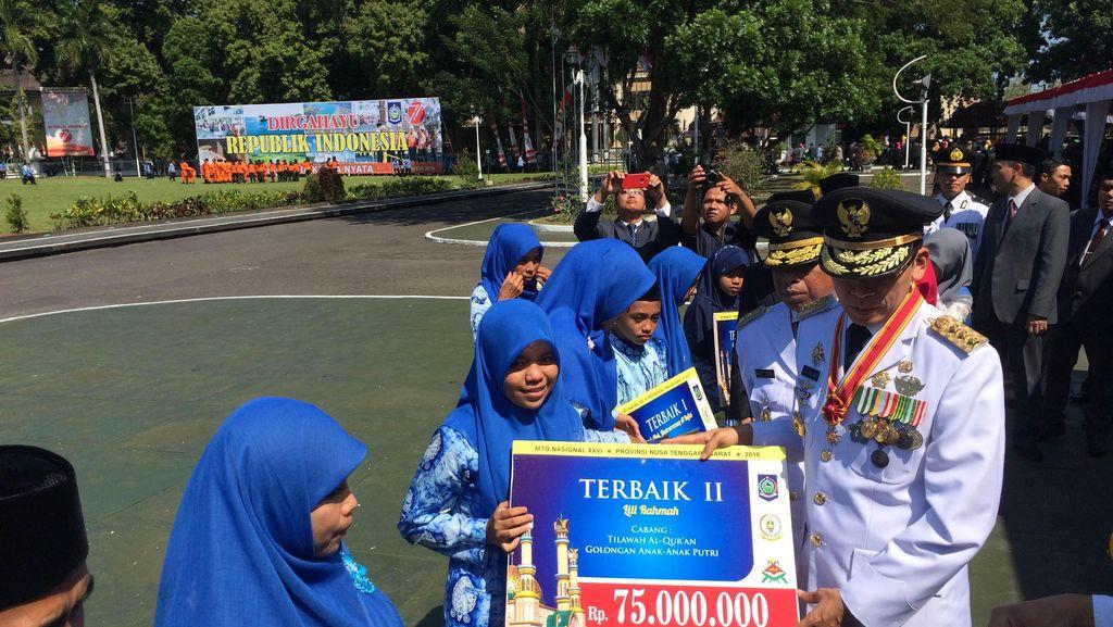 Hadiah Juara MTQ Rp 100 Juta Diserahkan dalam Peringatan HUT RI di NTB
