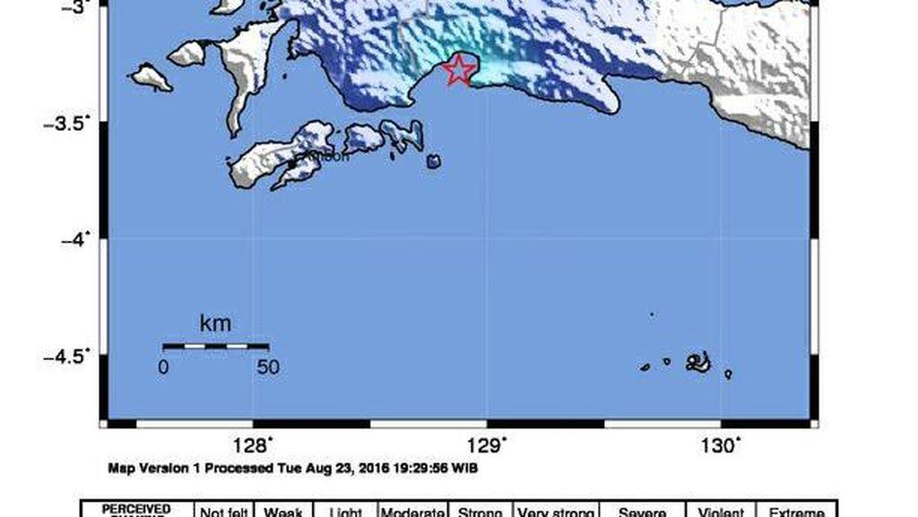 Gempa 4,4 SR di Teluk Elpaputi Maluku, Tak Berpotensi Tsunami