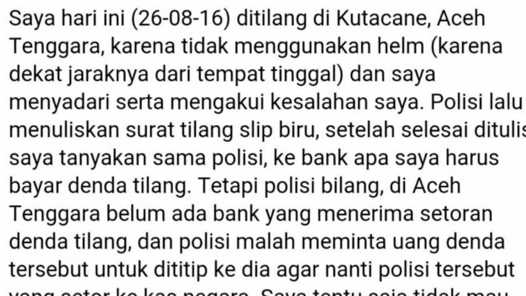 Ramai Lagi di Media Sosial, Warga Curhat Ulah Oknum Polantas di Aceh Tenggara