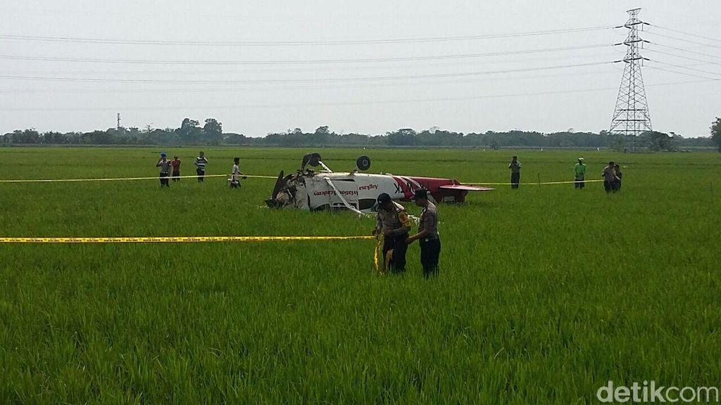 Mesin Mati, Begini Momen sebelum Pesawat Mendarat dan Terbalik di Sawah