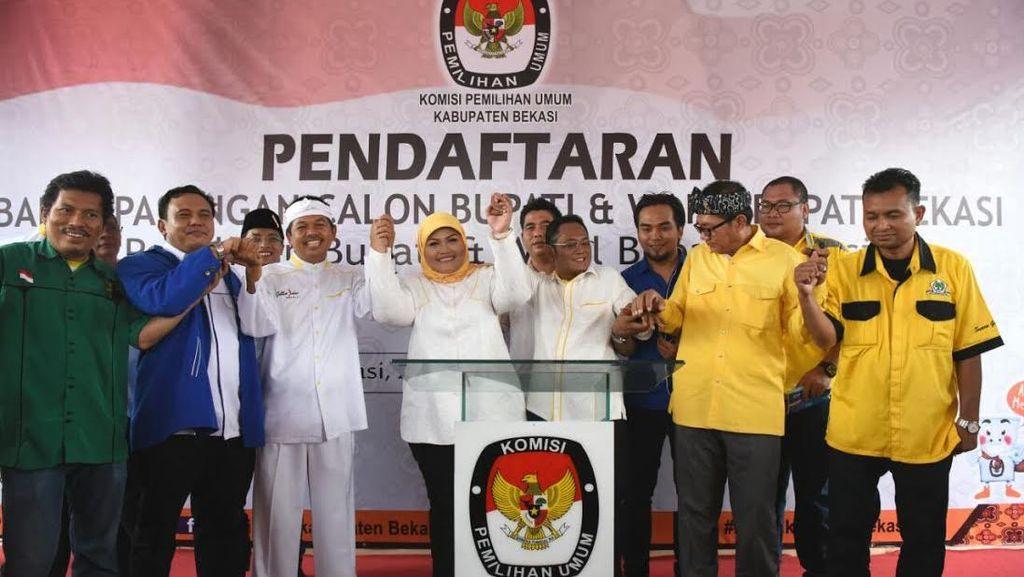 Diiringi Pasukan Berkuda, Petahana Neneng Hasanah Daftar Pilbup ke KPU Bekasi