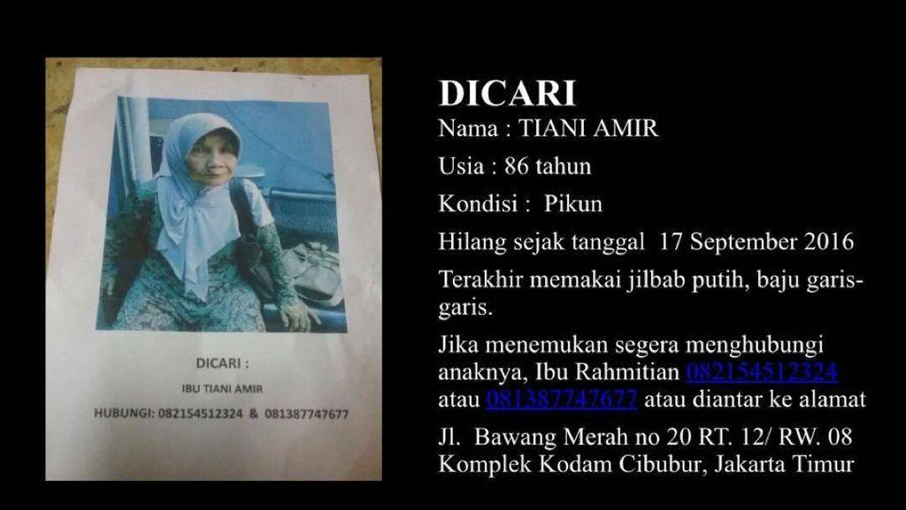Tolong! Nenek Tiani yang Pikun Ini Hilang dan Dicari Keluarga
