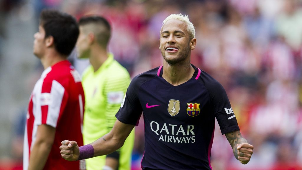 Neymar Dua Gol, Barca Atasi Sporting Gijon 5-0