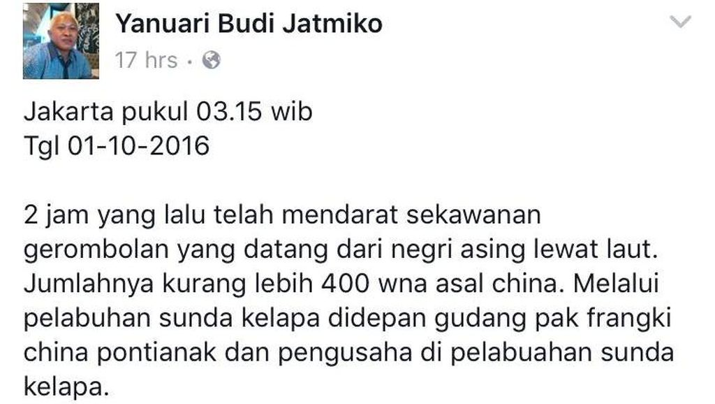 Polisi Telusuri Akun FB Penyebar Info 400 WN China Turun di Sunda Kelapa
