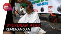 Jokowi Menang Quick Count, Relawan Cukur Rambut Massal