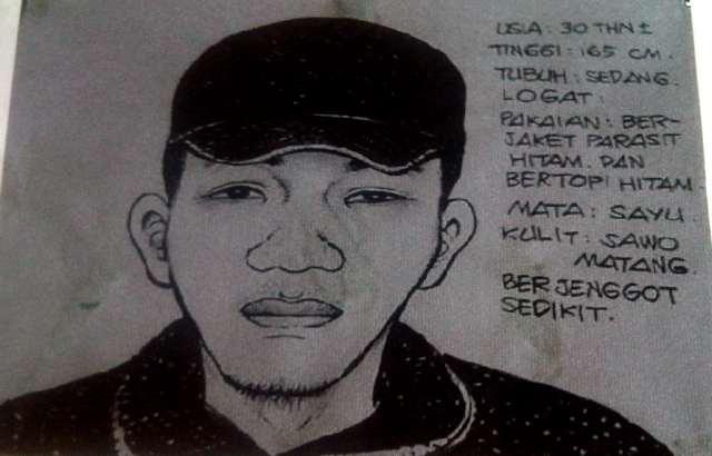 Sketsa Wajah Kurir Paket Bom Utan Kayu