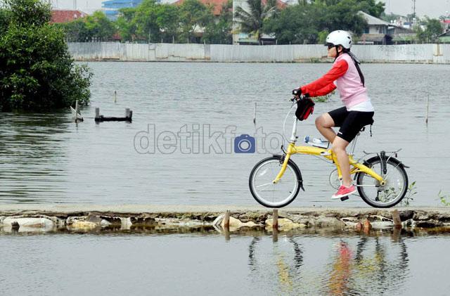 Seorang penggemar sepeda melintasi tambak warga. Trend bersepeda ...