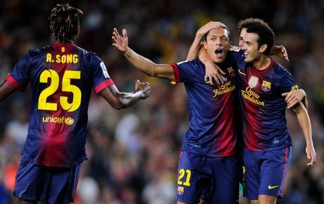Selebrasi Adriano, Barcelona vs Valensia 1-0