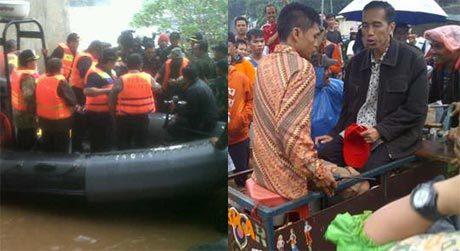 FOTO AKSI JOKOWI NAIK GROBAK PANTAU BANJIR 17 JANUARI 2013 SBY-Jokowi Turun Langsung Pantau Banjir