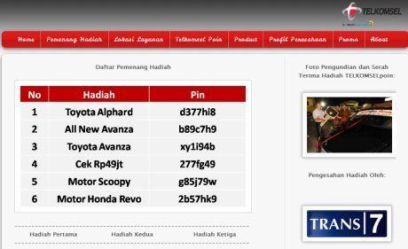 Situs Palsu Telkomsel, Penipuan Berhadiah Toyota Alphard