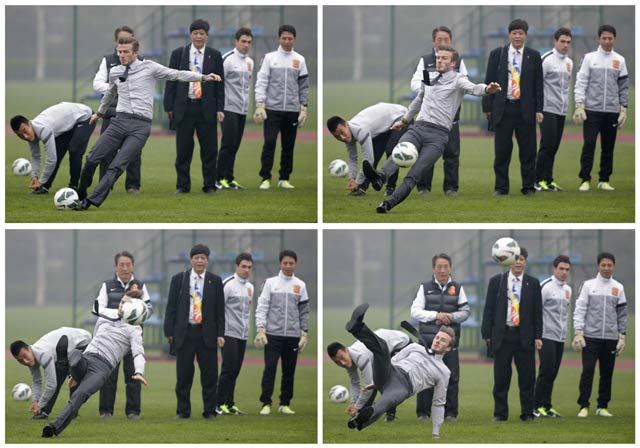 Foto kombinasi Beckham saat terpeleset. REUTERS/Stringer.