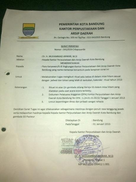 Surat perintah 'mesum' berkop Pemkot Bandung yang beredar di Bandung
