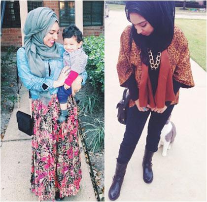 Hijab Style Perpaduan Material Motif Ala Ruqiya Imtiaz