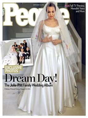 Unik! Gaun Pengantin Angelina Jolie Penuh dengan Lukisan Anak-anaknya