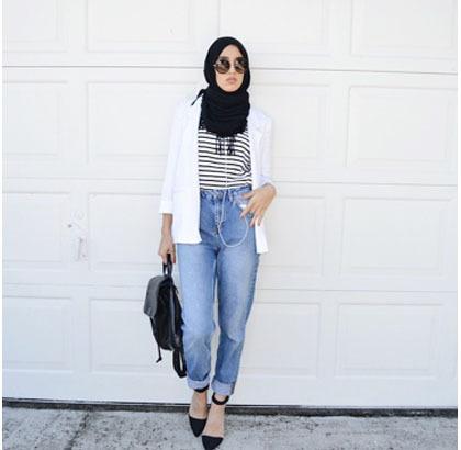 Busana Muslim Trendy Hijab Style Padu Padan Jeans Ala Hijabers