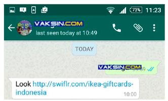 waspada spam di whastapp bagi bagi voucher starbucks dan ikea