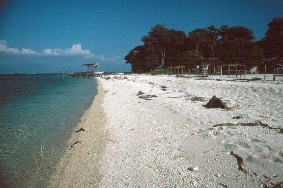 Pinggiran pantai di pulau samalona