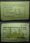 Tiket parkir yang diberikan di gerbang keluar